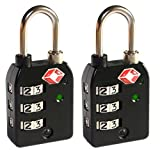 2 x 3-Dial TSA Combination Luggage Locks With SEARCHCHECK (Black)by LEOVAR