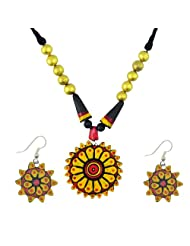 "ARTWOOD ""Organic Clay Charkha"" 3-piece Authentic Terracotta Jewellery Set"