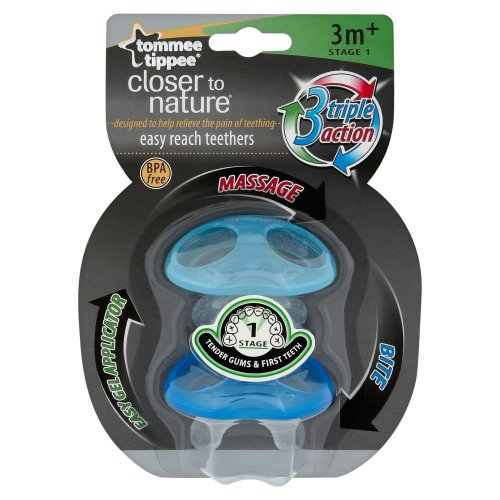 Tommee Tippee Closer To Nature Stage 1 Easy Reach Teether 3M+ (Boy) front-823599