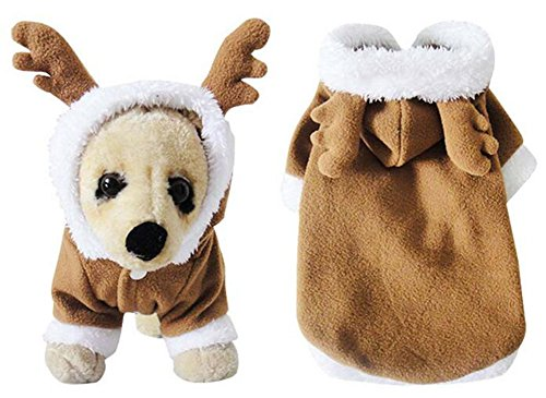 YAAGLE Christmas Pet Dog Cat Reindeer Costumes Warm Coat Clothes Clothes Apparel (Underdog Dog Costume)