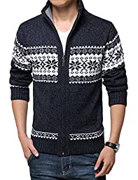 Wantdo Men\'s Zip Up Snowflake Pattern Christmas Knitted Sweater Cardigan Navy US Small/Tag 2XL