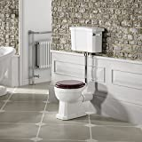 Traditional Low Level Close Coupled Toilet Bathroom Cistern Pan & Mahogany Seat