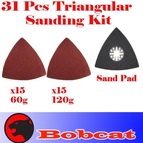 31 Pcs Triangular Sanding Kit Sanding Pad W/ Velcro Oscillating Multi Tool Saw Blades Sand For Fein Multimaster Bosch Multi-X Craftsman Nextec Dremel Multi-Max Ridgid Dremel Chicago
