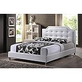 Baxton Studio Carlotta Modern Bed with Upholstered Headboard, White, King