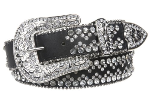 Snap On Western Cowgirl Rhinestone Studded Metallic Leather Belt Size: M/L - 38 Color: Black