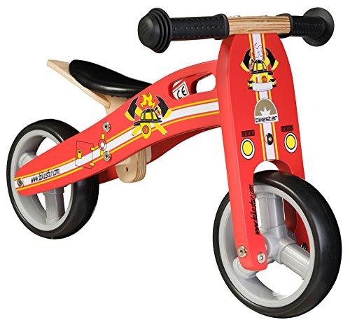 BIKESTAR® 17.8cm (7 pulgada) Bicicleta sin pedales para niños de 18 meses ★ Edición naturalmente la madera ★ Rojo ★ Diseño del Bombero
