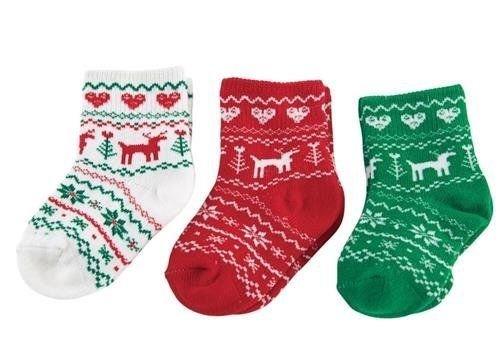 Mud Pie Baby Unisex Christmas Holiday Fair Isle Sock Set 0-12M