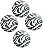 The Button Company 30 mm Polyester Zebra Print Sewing Button, Set of 4, Black/ White