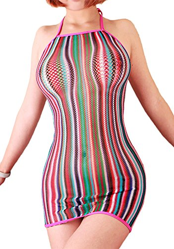 FasiCat Women Sexy Lingerie Rainbow Fishnet Mini Dress Novelty Stretch Chemise
