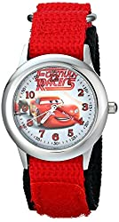 "Disney Kids' W001588 ""Time Teacher"" Lightning McQueen Stainless Steel Watch with Red Nylon Strap"