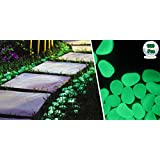 100 Pcs Solar Powered Glow in the Dark Pebbles and Stone for Pathways and Garden Decor