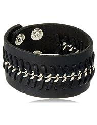 Unknown By Ayesha Leather Strand Bracelet For Men (Black) (45395-BLK)