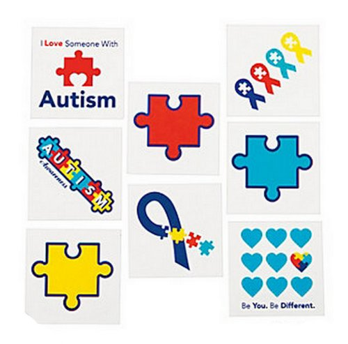 72 Autism Awareness Temporary TATTOOS Puzzle Piece Individually Wrapped - 1