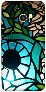 The Racoon Lean printed designer hard back mobile phone case cover for HTC 10. (Blueberry)