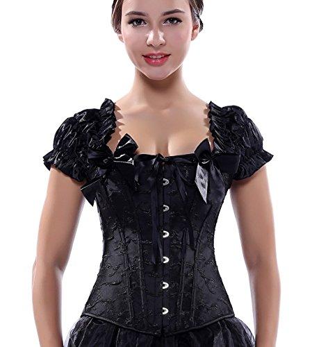 BINCHENG Womens steel buckle Bustiers Shoulder Strap Corset Large Black (Plain Black Corset)