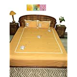 Amita's Home Furnishing Light Orange Colour Hand Embroided Bed Linen With 2 Pillow Cover