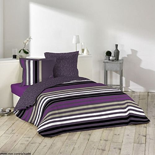 """Lulu CASTAGNETTE copripiumino 240 x 220 cm, 2 federe per cuscino, in cotone, motivo """"Lulu purple fashion"""