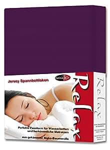 Spannbettlaken Spannbetttuch 180x200 - 200x220 cm Baumwolle Jersey Relax lila