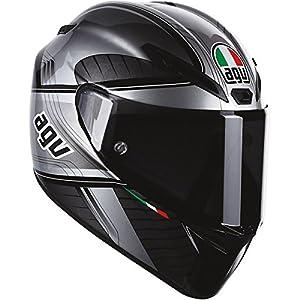AGV GT-Veloce GTX Full Face Motorcycle Helmet (Black/Silver, Medium-Small) by AGV