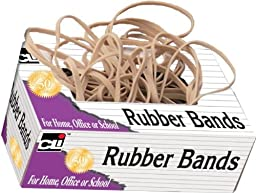 Charles Leonard Inc. High Quality Rubber Bands, 4 Individual Bags Per Pack, #105 (5 x 0.625 Inches), Beige/Natural, 1 lb (56405)