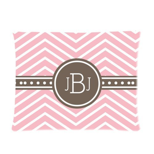 Cartrol Cotton & Polyester Custom Pillowcase-Personalized Personalized Pink Chevron Monogram Cursive Initials Pillow Cases Rectangle Pillowcase One Side - Size 20X26 Inch front-455479