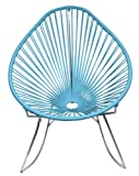 Innit Designs Acapulco Rocking Chair, Chrome Frame with Blue Weave