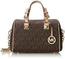 Michael Kors Signature Print Satchel Handbag Bag 30F2GGCS2B Brown