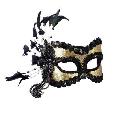 Fancy Black & Gold Venetian Mask