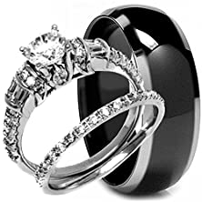 buy 3 Pieces Men'S And Women'S, His & Hers, 925 Genuine Solid Sterling Silver & Black Carbon Fiber Titanium Engagement Matching Wedding Anniversary Ring Set