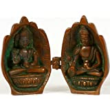 Folded Hands Portable Folding Temple Of Medicine Buddha And Preaching Buddha - Brass Statue