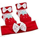 BABYTOWN recién nacido Niñas Baby Shower Fresa Calcetines De Botitas de lazo diadema Set de regalo rojo RED STRAWBERRY10C116 Talla:6-12 meses