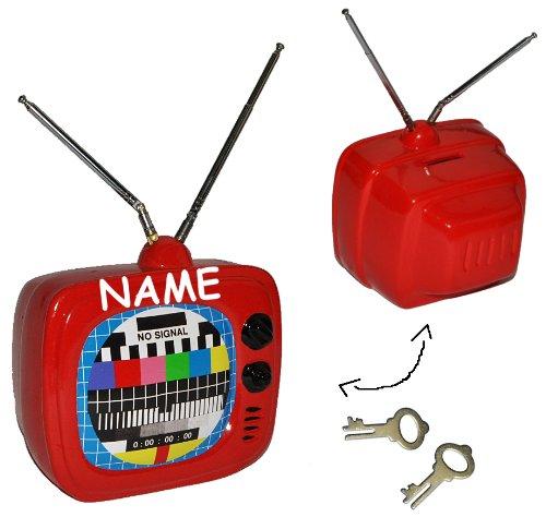 Sparschwein Fernseher / TV - mit Namen - aus Porzellan / Keramik mit Schlüssel und ausziehbarer Antenne - stabile Sparbüchse für die Fernsehkasse Spardose Geld