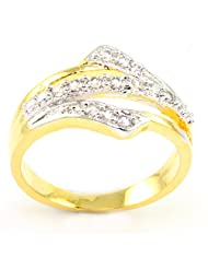 SUPERSHINE STYLISH GOLD PLATED RING JEWELRY STUDDED WITH AMERICAN DIAMONDS G80942