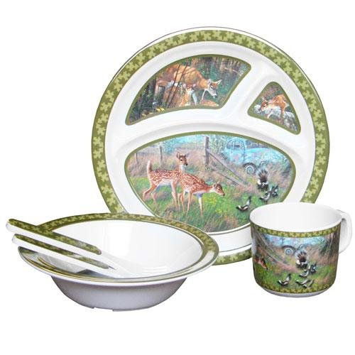 Wild Wings Children's 5-Piece Melamine Tableware Set Featuring Deer - 1
