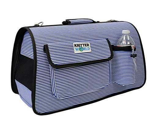 KritterWorld® Portable Soft-sided Pet Travel Carrier House Kennel for Small Medium Puppy Dog Cat Tote Crates Shoulder Bag with Storage Pockets, Blue Stripe