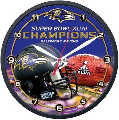 NFL Baltimore Ravens Super Bowl XLVII Champions Round Clock