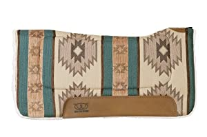 Weaver Leather All Purpose Buckaroo Pattern Contoured Saddle Pads, Aquamarine, 30 x 30-Inch
