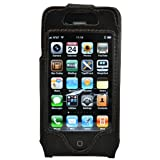 CrazyOnDigital Leather Protector Case with Belt Clip for Apple iPhone 4G - Black - Fits AT&T iPhone