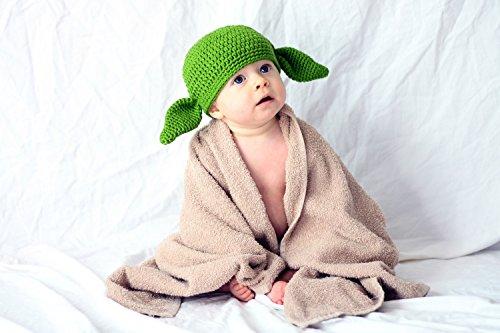 Milk protein cotton yarn handmade baby Yoda hat - fits 3 to 12 months baby