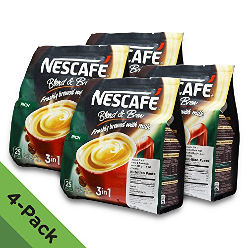 4 PACK - Nescafé 3 in 1 RICH Instant Coffee (100 Sticks TOTAL) ★ Made from Premium Quality Beans ★ Offers a Relaxing Flavor But with Strong, Solid Essence and Aroma ★ Has a Richer Taste than Nescafé 3 in 1 Original ★ Serve Hot or Cold ★ From Nestlé Malaysia (Keurig Coffee Yuban compare prices)