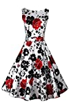 ACEVOG 50s Hepburn Style Vintage Sleeveless Floral Swing Dress, Medium