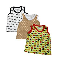 NammaBaby Premium Cotton Sleeveless Vest Multi PRINT Set Of 3 (9-12 months)