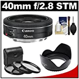 51pQHdWRpWL. SL160  Canon EF 40mm f/2.8 STM Pancake Lens with 3 (UV/FLD/CPL) Filters , Hood, Cleaning Kit