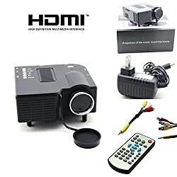 Crocon UC28 Mini Portable Multimedia Projector Connect with HDMI/VGA/AV/USB/SD (Black)