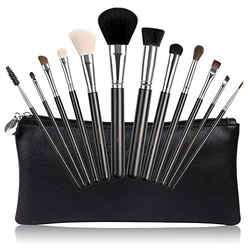 DUcare Makeup Brushes, 12Pcs Black Friday Eye Brush Set Goat Pony Hair Professional With Leather Bags (Brush Package compare prices)