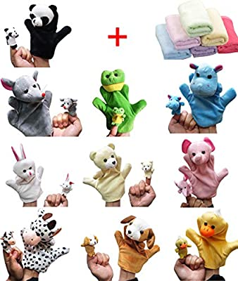Moolecole 20pcs Velvet Animal Style Hand & Finger Puppets Set with 1pc Bamboo Baby Washcloth as Gift from Moolecole