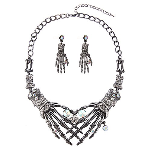 Halloween Vintage Punk Austrian Crystal Claw Shaped Statement Jewelry Set