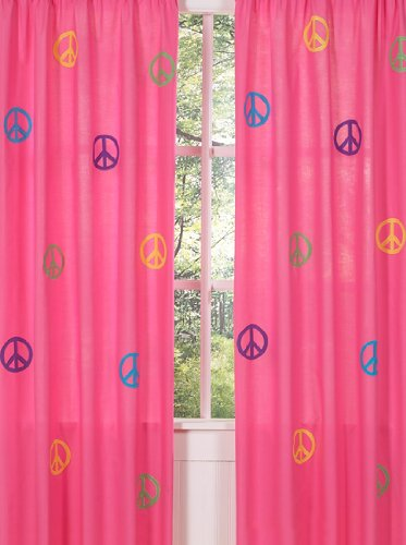 Groovy Pink Peace Sign Window Treatment Panels By Sweet Jojo Designs - Set Of 2 front-235983