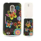 Cell Armor Jelly Case for Samsung Epic 4G Touch - Retail Packaging - Butterflies and Flowers on Black