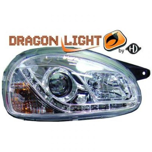 phares à LED diurnes, chrome CORSA B de 1993 à 2000 chrome DRAGON LIGHTS pour réglage électrique H1+H1